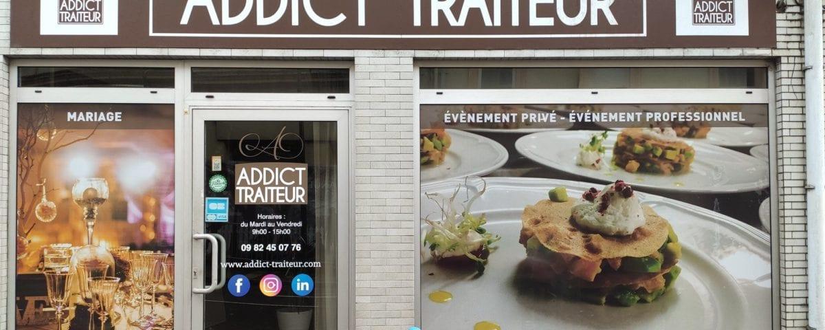 Conception, impression, et pose d'une vitrine en adhesif micro-perfore pour Addict Traiteur - Hayange
