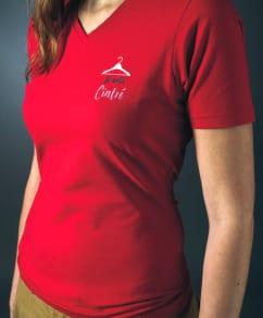 tshirt-rouge impression-floque-marque-pub-logo-lookline-metz flocage